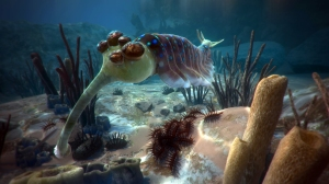 """Opabinia, 5 eyes and a trunk,  a 450 million years old creature from """"David Attenborough in a VR journey""""."""