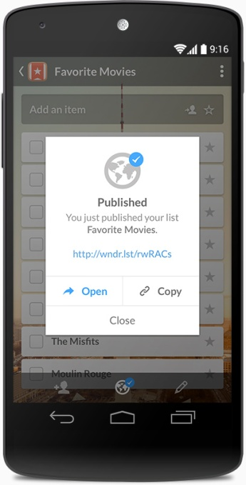 Wunderlist 3 Android - PublicLists