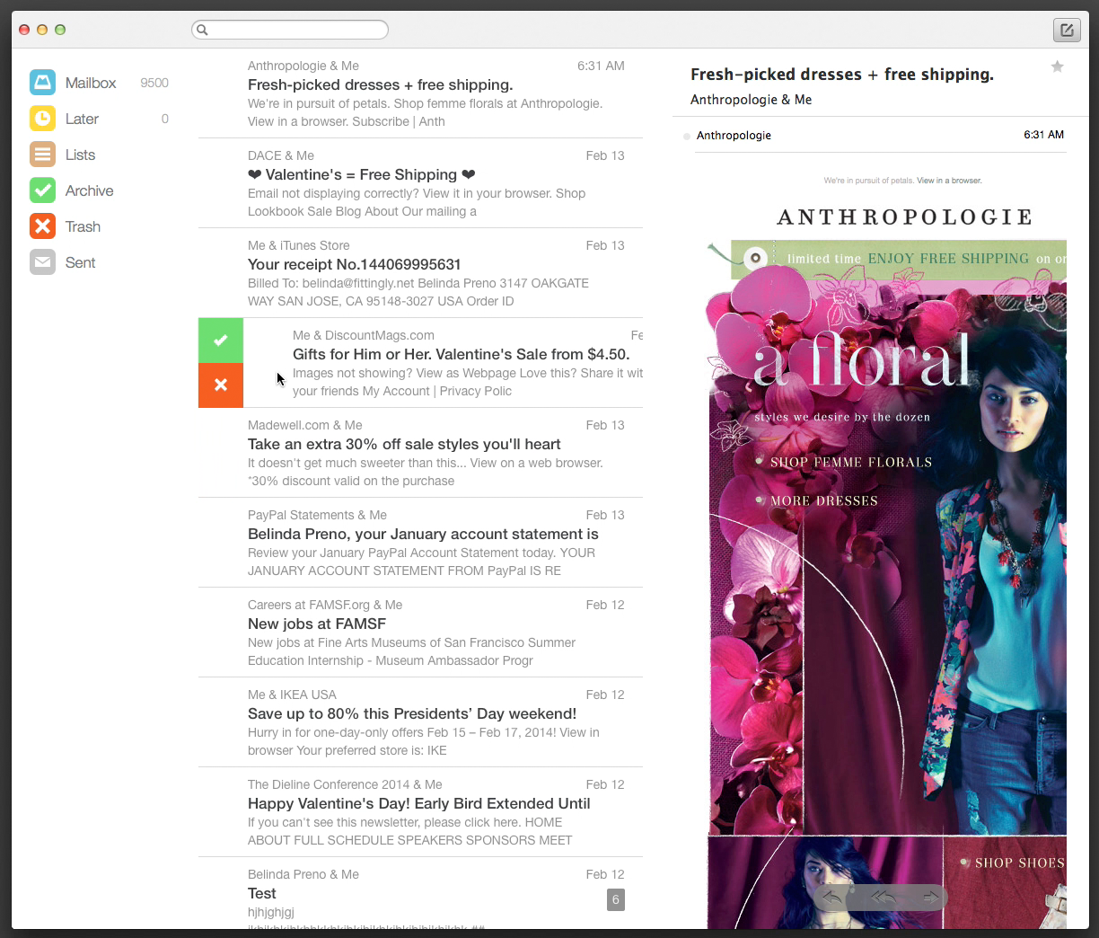 An early iteration of Mailbox for desktop