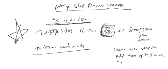 Mojo Media co-founder Richard Marlin's sketches and description of a photo shutter button that could be held down to record video.