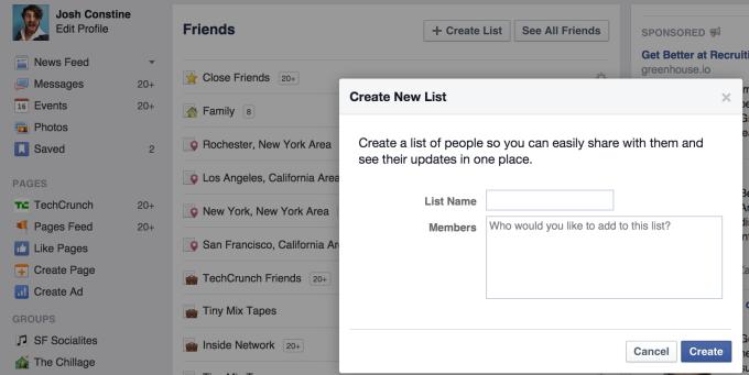 Facebook List Creator