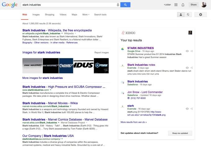 Xendo surfacing content next to a Google search.