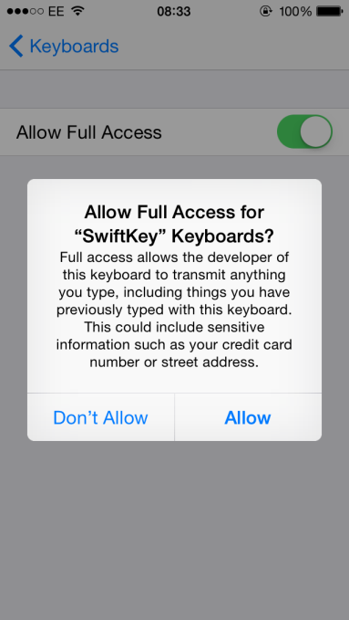 iOS 8 keyboard Full Access