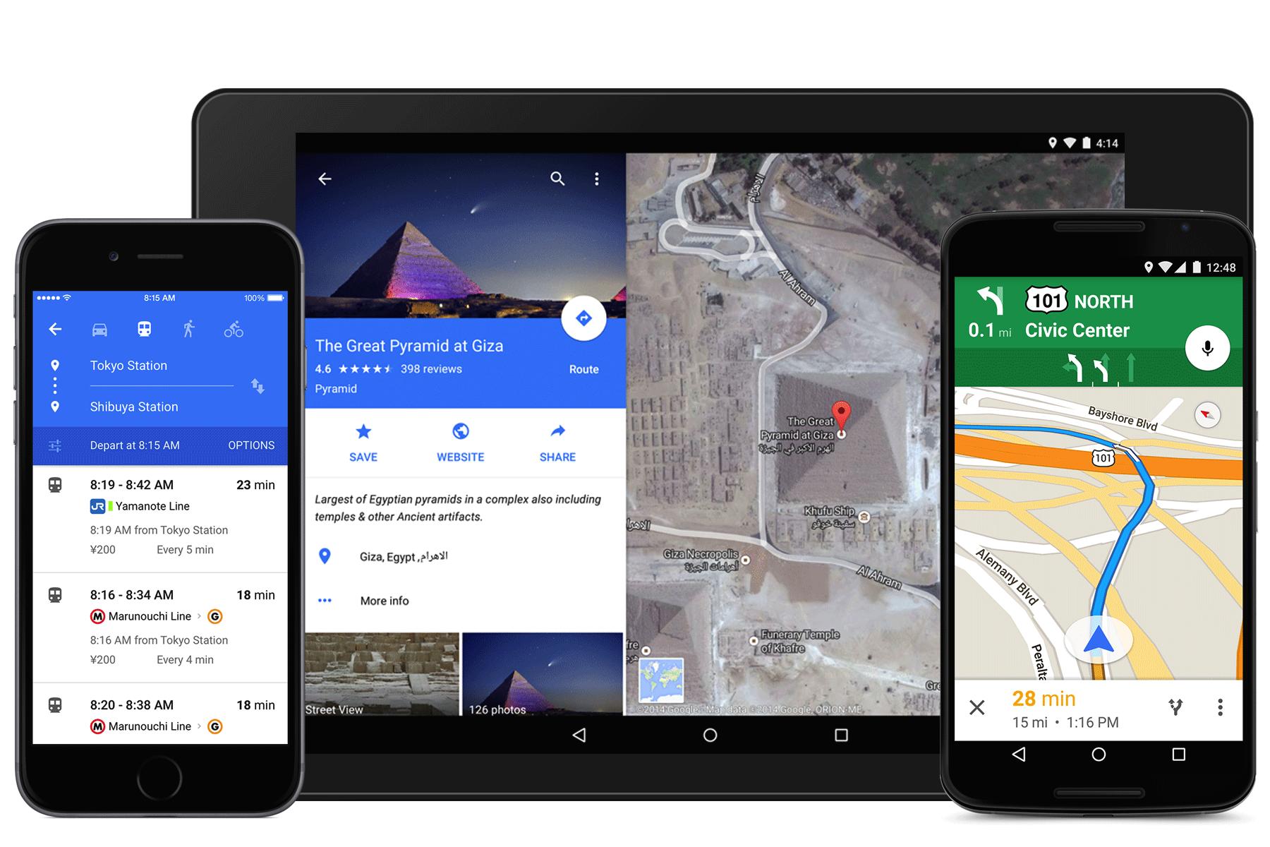 Redesigned Google Maps app