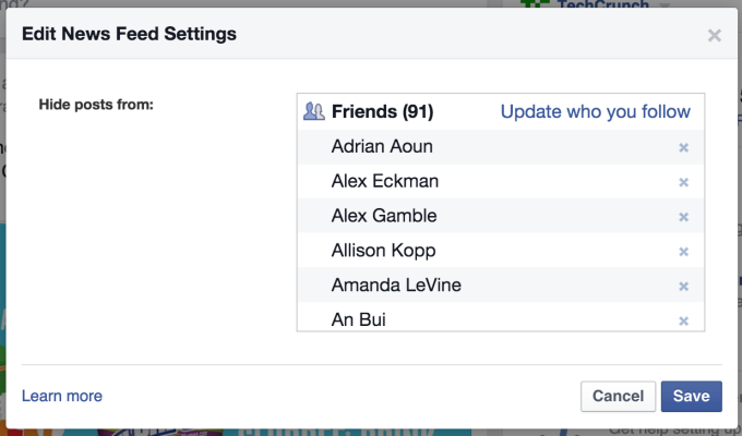 Facebook's low-utility News Feed Settings up until today