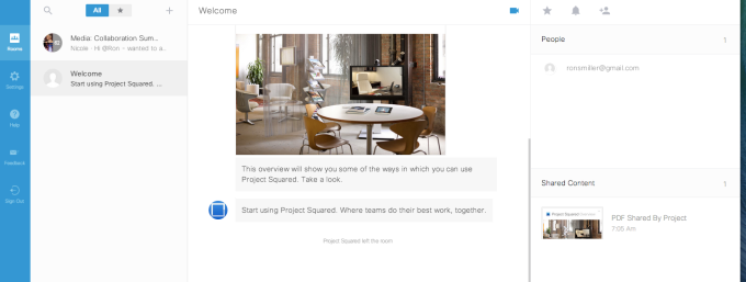 Cisco Project Squared web interface.