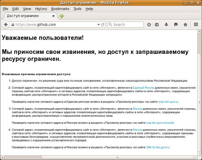 Russia Github blocked