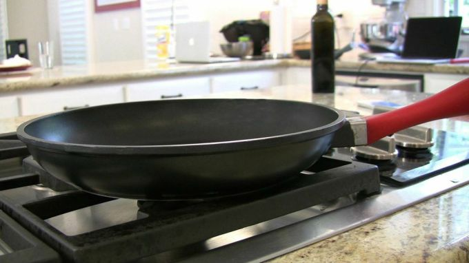 Temperature control and perfect timing in a pan. This gadget lets you check the exact temperature inside your salmon, steak or whatever else you've got sizzling and let's you know when it's ready without having to stick a fork in it. The Pantelligent app for iPhone monitors the cooking and lets you know the ideal time when the food is done.