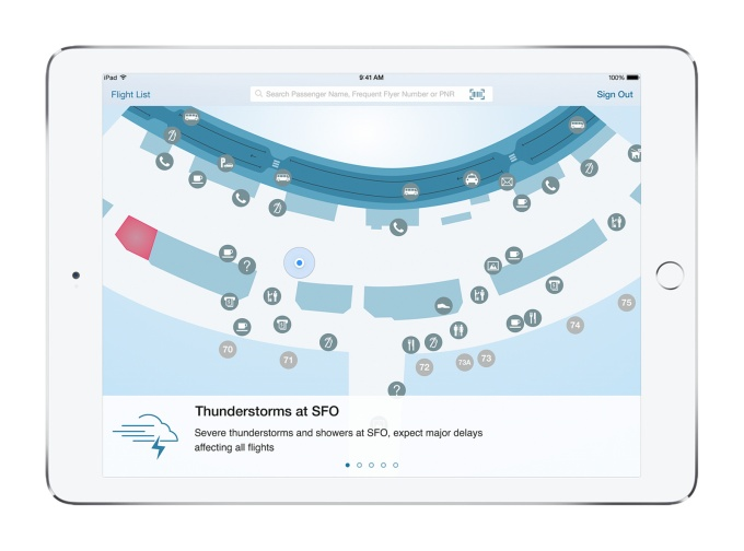 IBM-Apple airline customer service app on iPad.