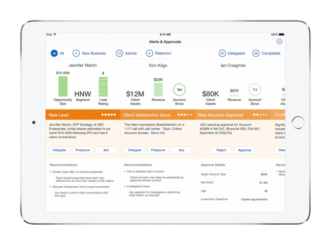 IBM-Apple wealth management app on iPad.