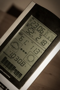 Digital weather station displaying data.