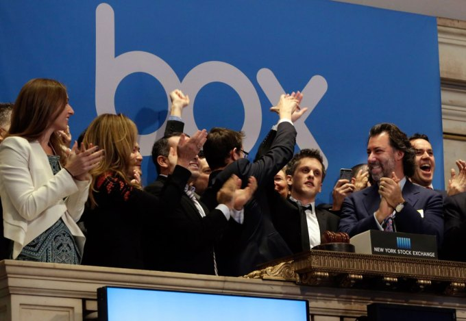 Box team applauding after ringing the bell on the day of their IPO.