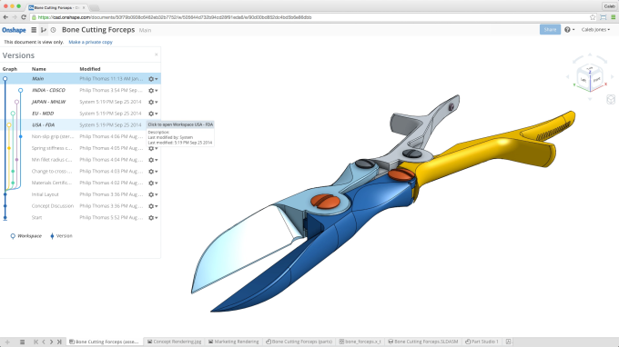 OnShape allows for branching of a product design
