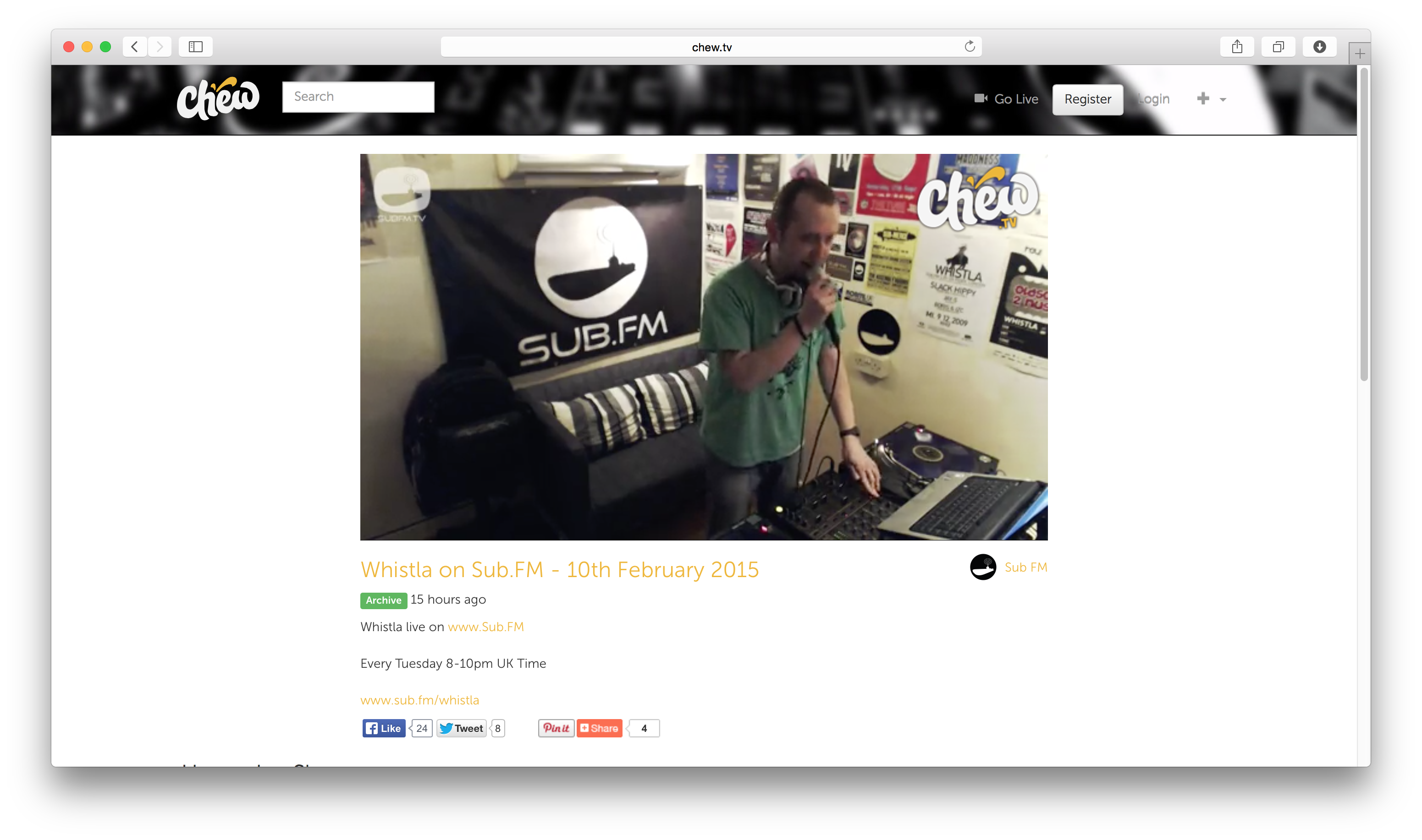 Chew Watch page (chew.tv_subfm_whistla-on-subfm-10th-february-2015)
