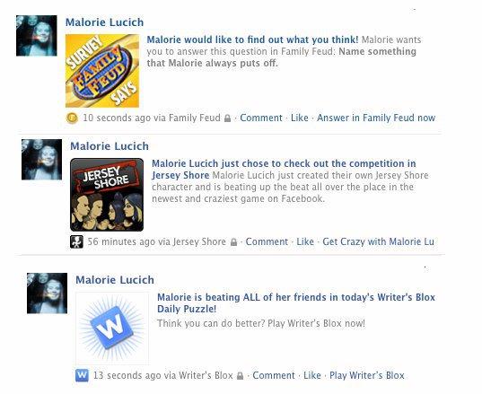 Facebook Game Spam, circa 2010