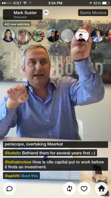A screenshot from Periscope