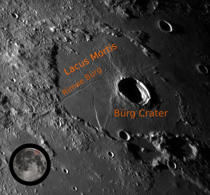 """Two lunar skylights, what lunar scientists believe are the collapsed ceilings of ancient lava tubes, are known to exist in the Rimae Burg Rille structure in Lacus Mortis, Latin for """"Lake of Death."""" Astrobotic intends to make a precision landing at 100 meters offset from the edge of the skylight in the effort to win the XPRIZE."""
