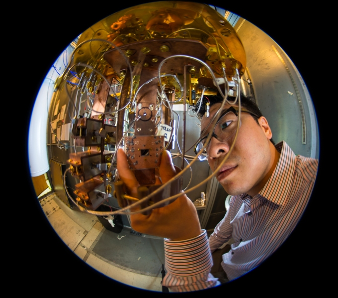 IBM researcher Jerry Chow in the quantum computing lab at IBM's T.J. Watson Research Center.