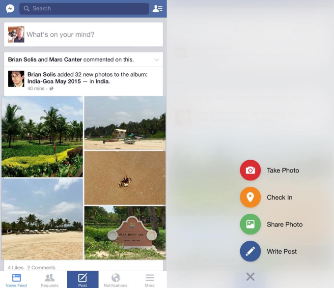 Facebook iOS Flyout Buttons