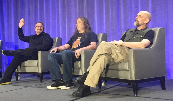 Magic Leap CEO Rony Abovitz, Chief Creative Officer Graeme Devin,  and Chief Futurist/superstar sci-fi novelist Neal Stephenson (from left)