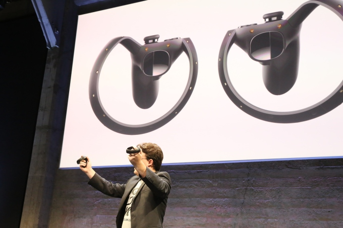 Co-founder Palmer Luckey unveils the Oculus Touch motion controller