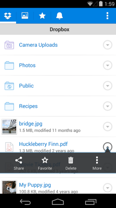 Here's what the old Dropbox app looked like.