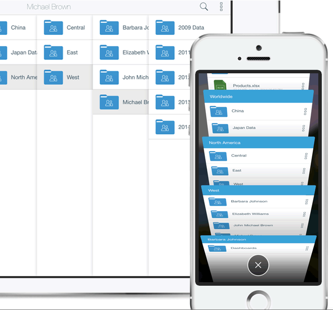 Syncplicity interface on mobile and desktop.