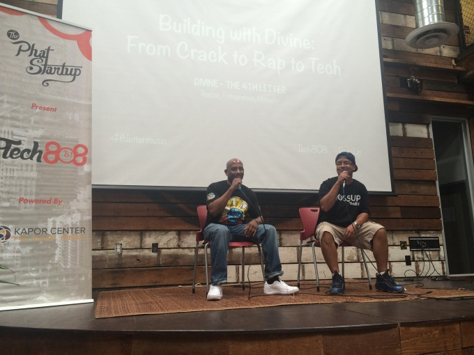 """Divine and Tech808 Co-Founder James Lopez during the """"Building with Divine: From Crack to Rap to Tech"""" discussion."""