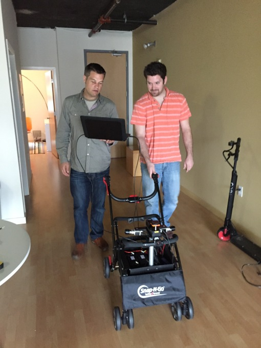 Campbell Kennedy (left) and Dan Landino (right) of Locus Labs next to an version of their map capture platform