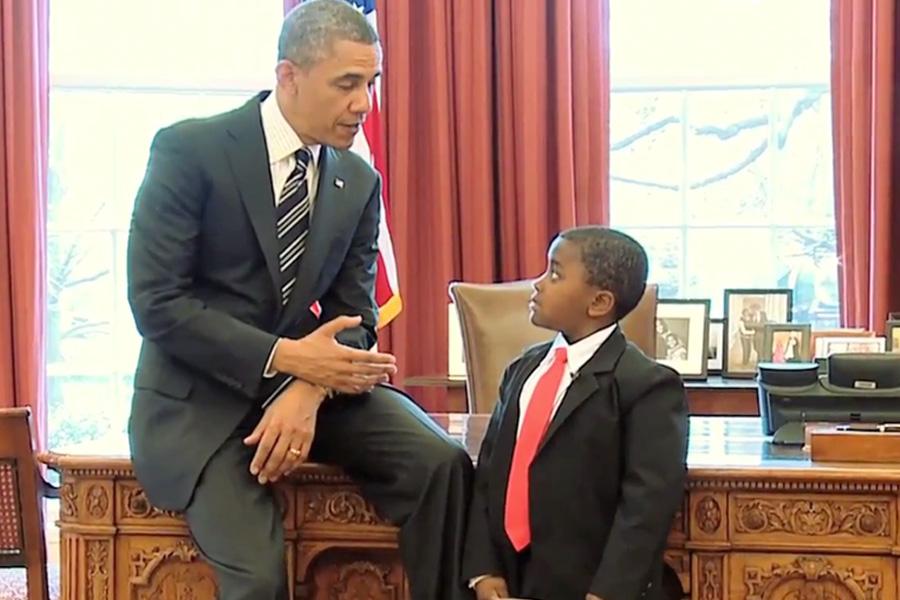 Kid President meeting actual President Obama.