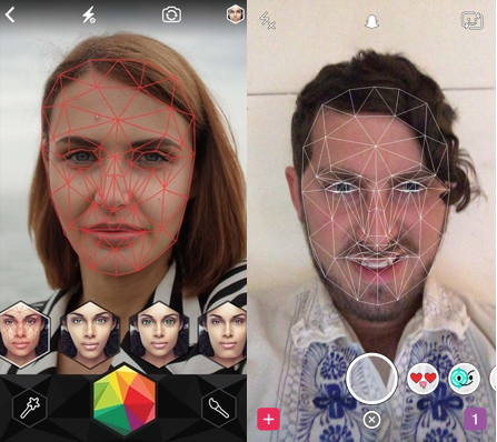 Looksery's facial recognition on the left, Snapchat's seemingly identical facial recognition on the right