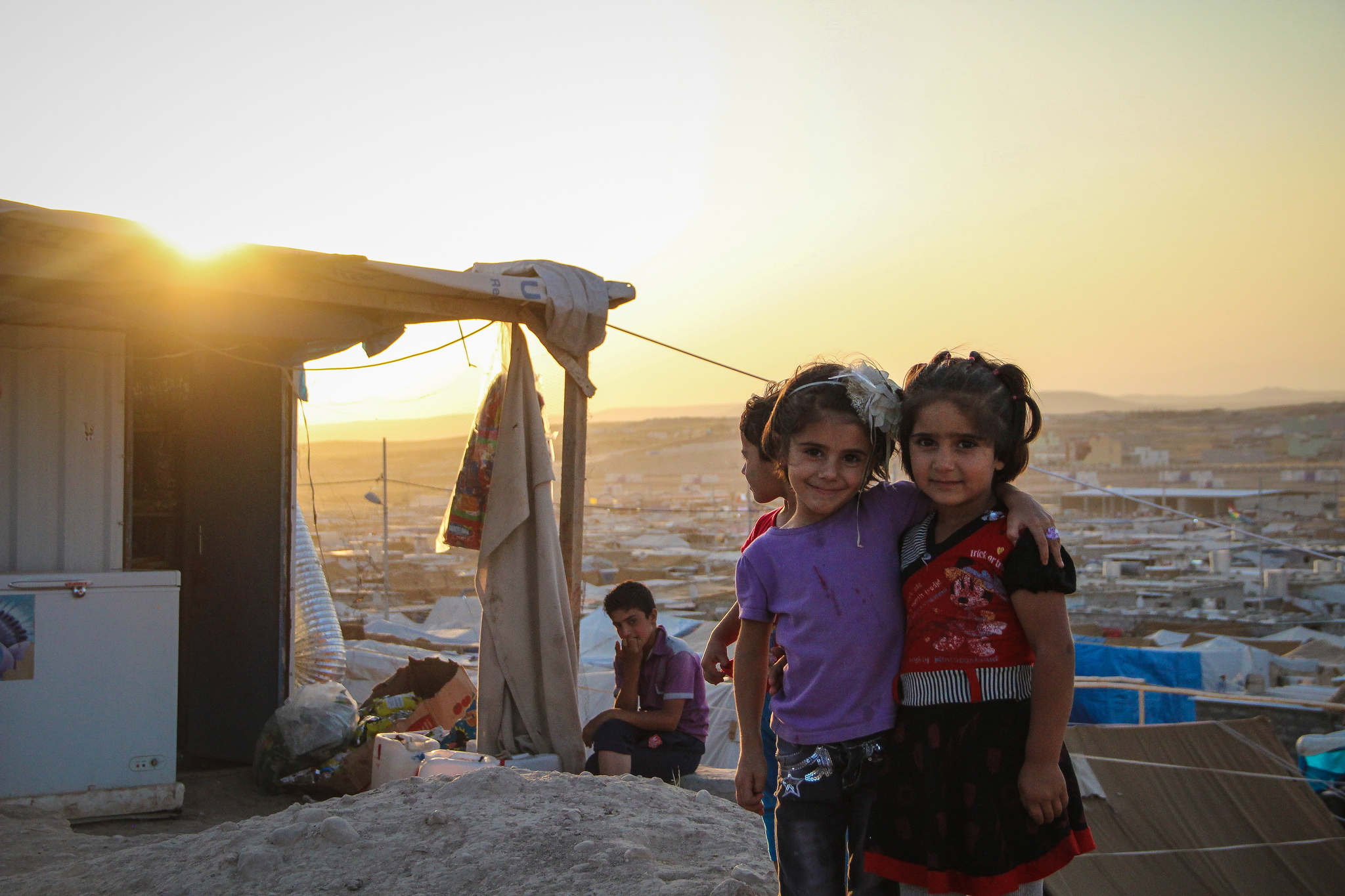 Syrian refugee children displaced from their home. They are part of nearly 12 million refugees who have fled the region since 2011.