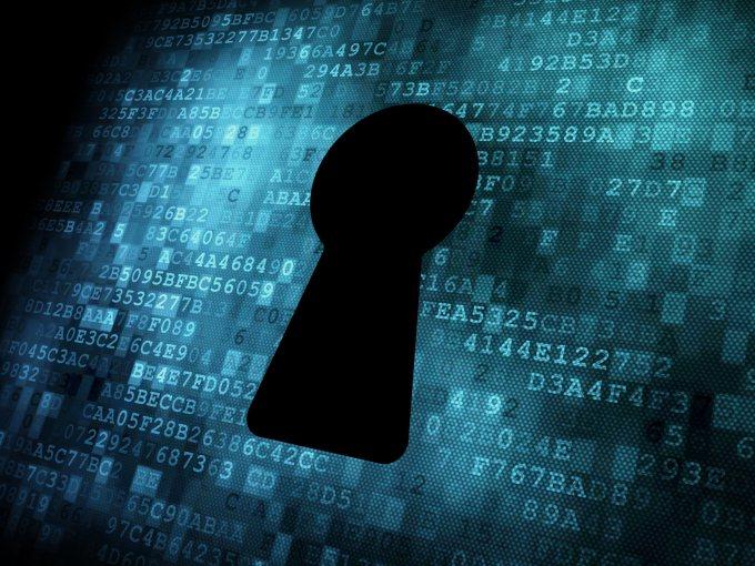 Security concept: Keyhole on digital screen, contrast, 3d render