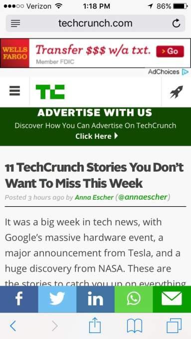 Article in iOS Safari (before)
