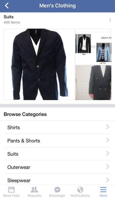 Facebook Men's Categories
