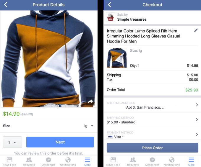Facebook Shopping Checkout