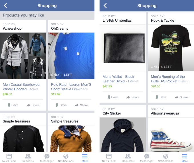 Facebook Shopping Products You May Like