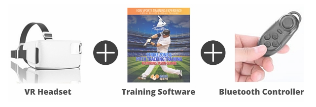 Eon sports virtual baseball training package includes a head set, training software and a bluetooth controller.