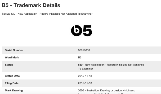 B5_Trademark_Application_of_Beats_Electronics__LLC_-_Serial_Number_86819656____Justia_Trademarks