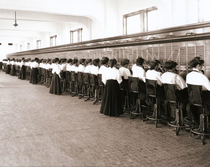 Telephone switchboard operators circa 1914. Photo courtesy Flickr and reynermedia.