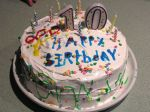 Tenth birthday cake with white frosting.