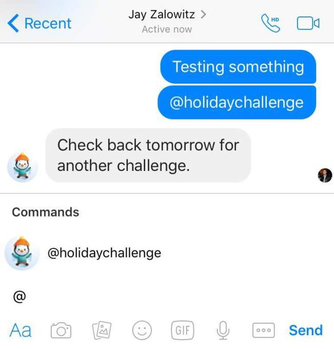 Facebook In-line bots