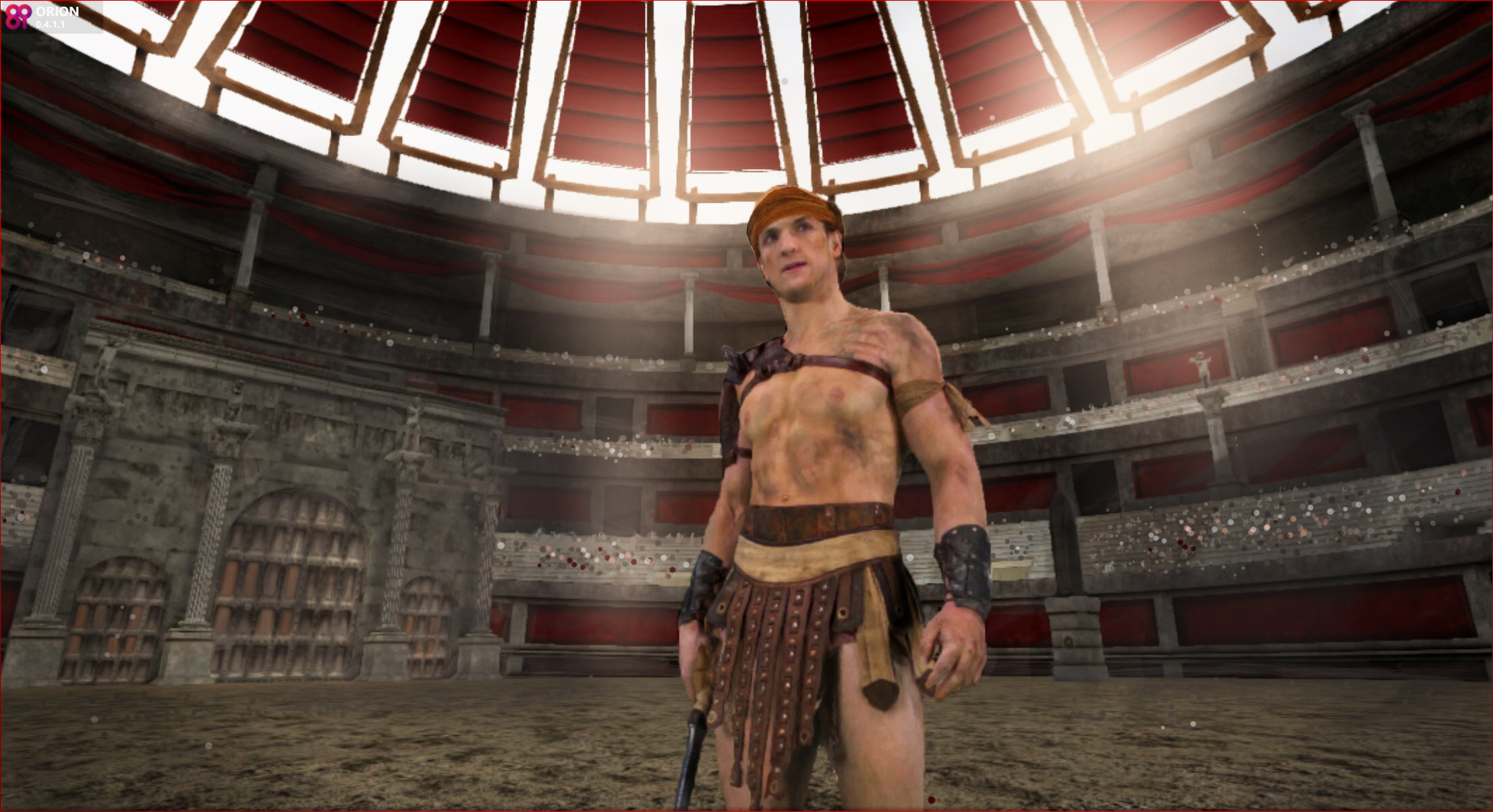 Logan Paul as a gladiator in the Colosseum. A scene from #100humans VR project, premiering at the 2016 Sundance Film Festival