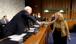 Secretary of the Air Force Deborah Lee James greets Sen. John McCain / Image courtesy of U.S. Air Force photo/Scott M. Ash)