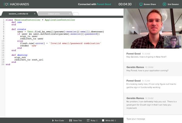 Screenshot of a HackHands session (source: CrunchBase).