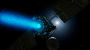 Illustration of Dawn spacecraft with traditional ion propulsion / Image courtesy of NASA/JPL