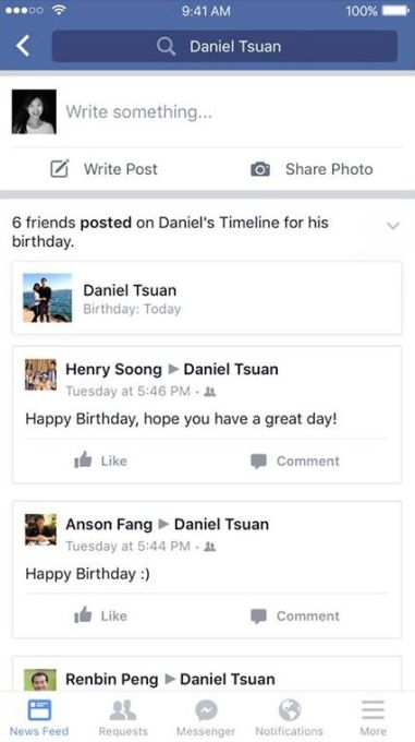 Facebook Birthday Wall