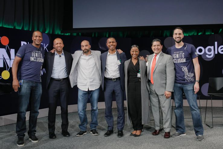 Pictured left to right: David Drummond, Senior Vice President, Corporate Development, Alphabet, with Google.org grantees: Bryan Stevenson, Founder and CEO, Equal Justice Initiative, Dr. Jeff Duncan-Andrade, Founder, Roses in Concrete Community School, Oakland, Landon Dickey, Special Assistant for African American Achievement & Leadership, San Francisco Unified School District, Alexandra Bernadotte, Founder and CEO, Beyond 12, Richard Carranza, Superintendent, San Francisco Unified School District, and Justin Steele, Principal, Google.org