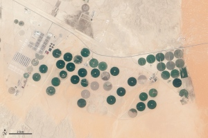 Satellite image of an arable farm in Saudi Arabia / Image courtesy of Landsat/NASA