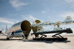 Super Guppy with 2 supersonic jets / Image courtesy of NASA